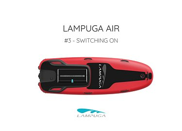 "The red Lampuga Air Jetboard with the heading ""Switching On"""
