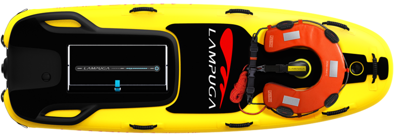Top view of the Lampuga Rescue with lifebouy