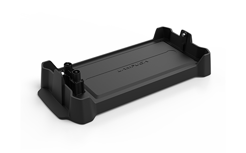 Black battery charging cradle