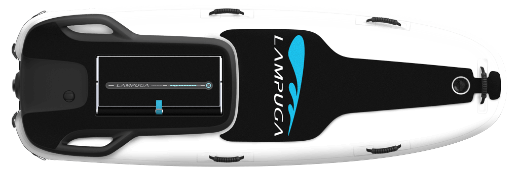 Lampuga Air with transparent colour and blue wordmark